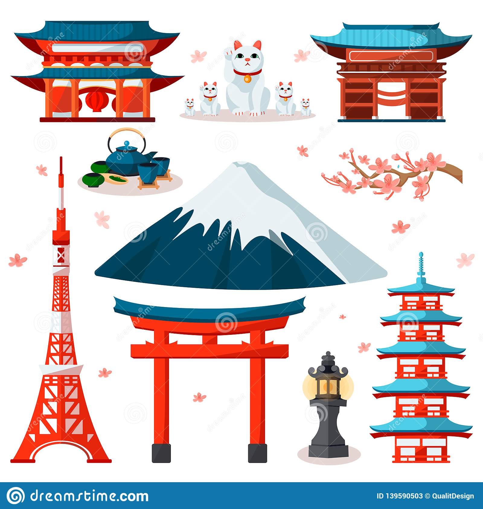 Travel To Asia, Japan Icons And Isolated Design Elements Set  Vector