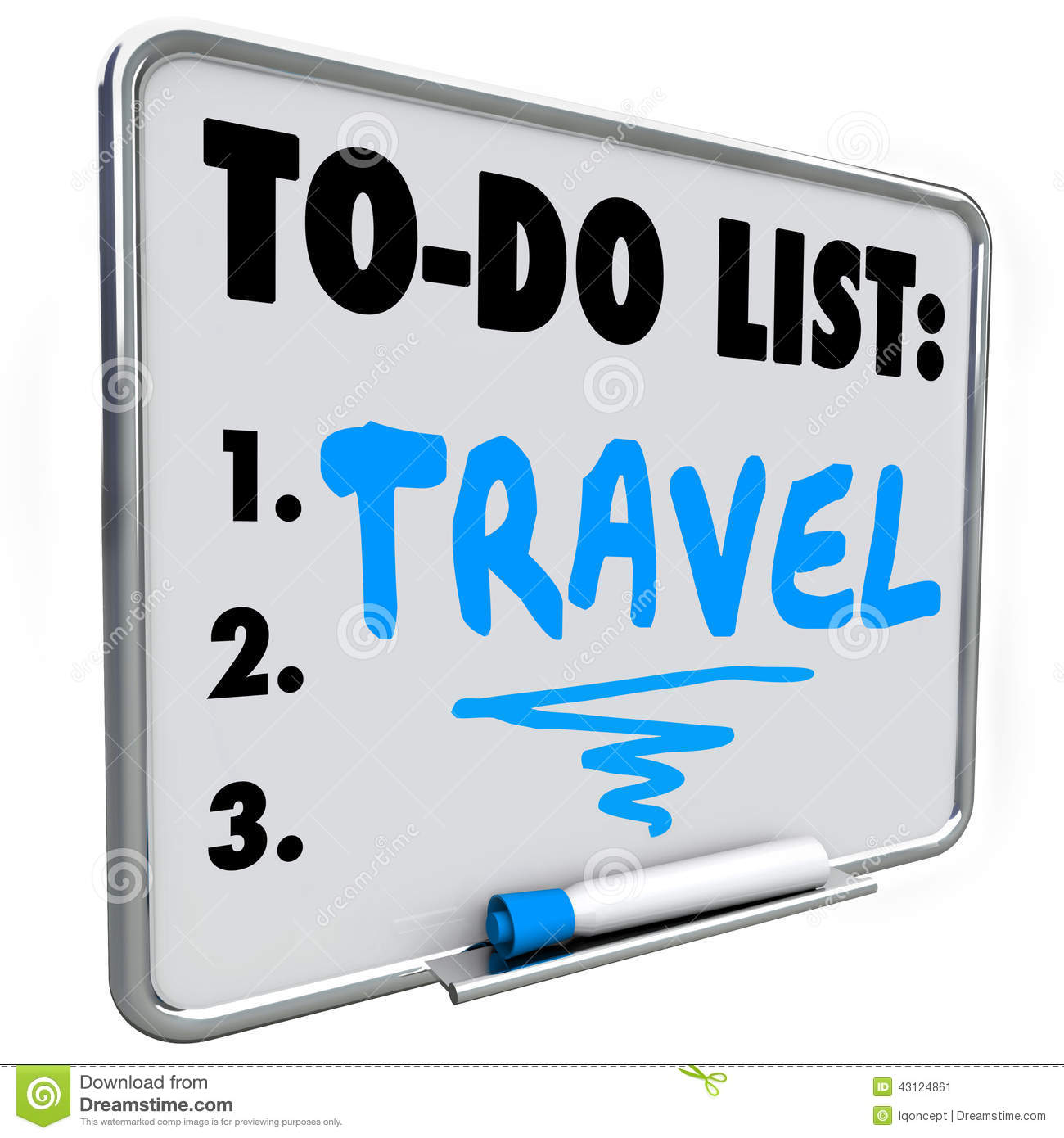 Travel word written on a dry erase board with blue marker as a ...