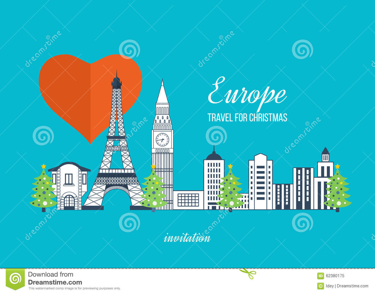 Travel To Europe For Christmas Merry Christmas Stock Vector - Travel to europe