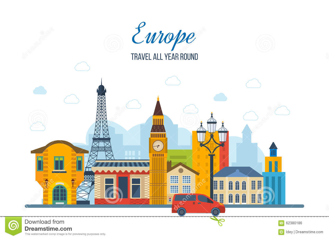 Travel To Europe French And England Landmarks Stock