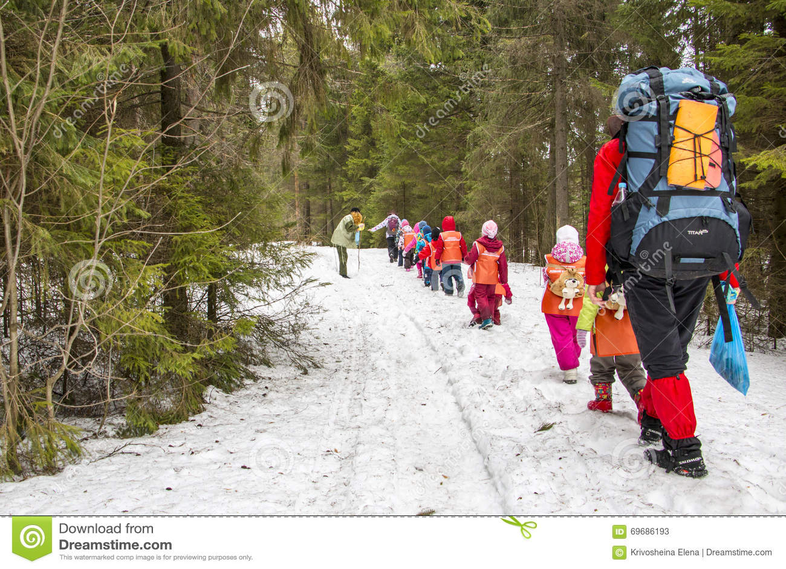 Travel to the forest of schoolchildren