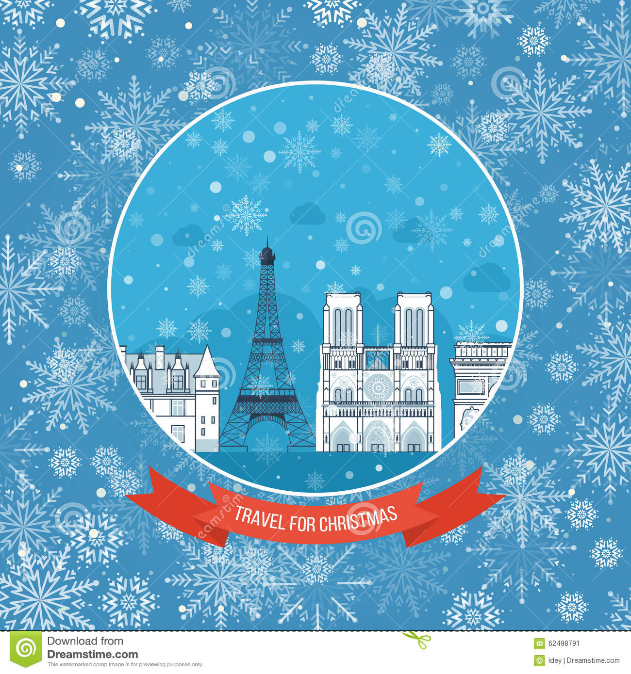 Easy Year To Travel On Christmas: Travel To France For Christmas. Greeting Card Stock Vector