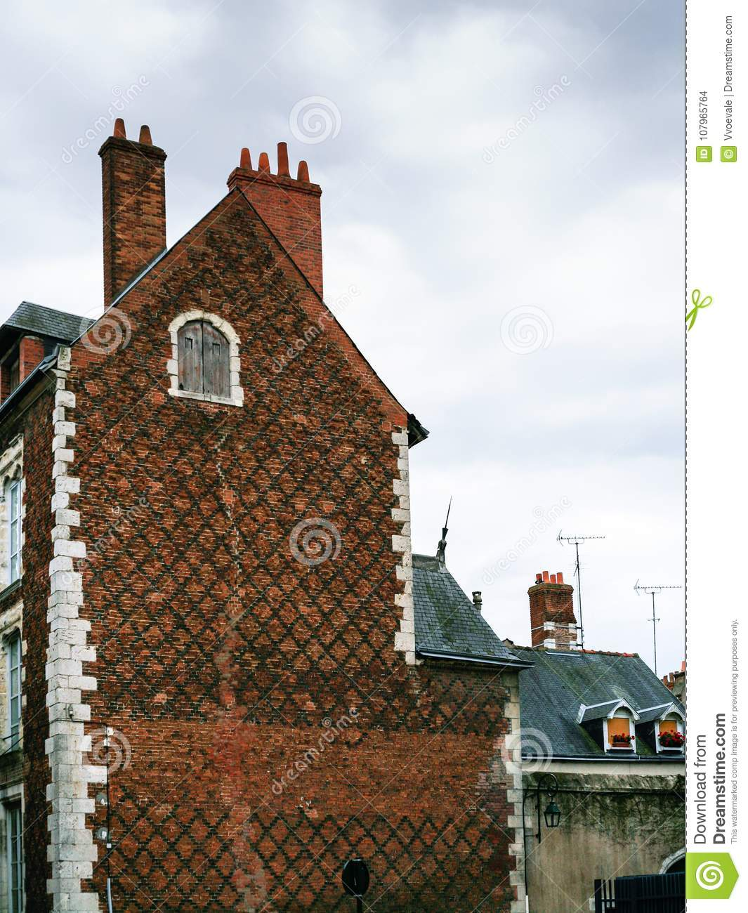 Old Brick Apartment Building: Old Brick Urban Building In Orleans City Stock Photo