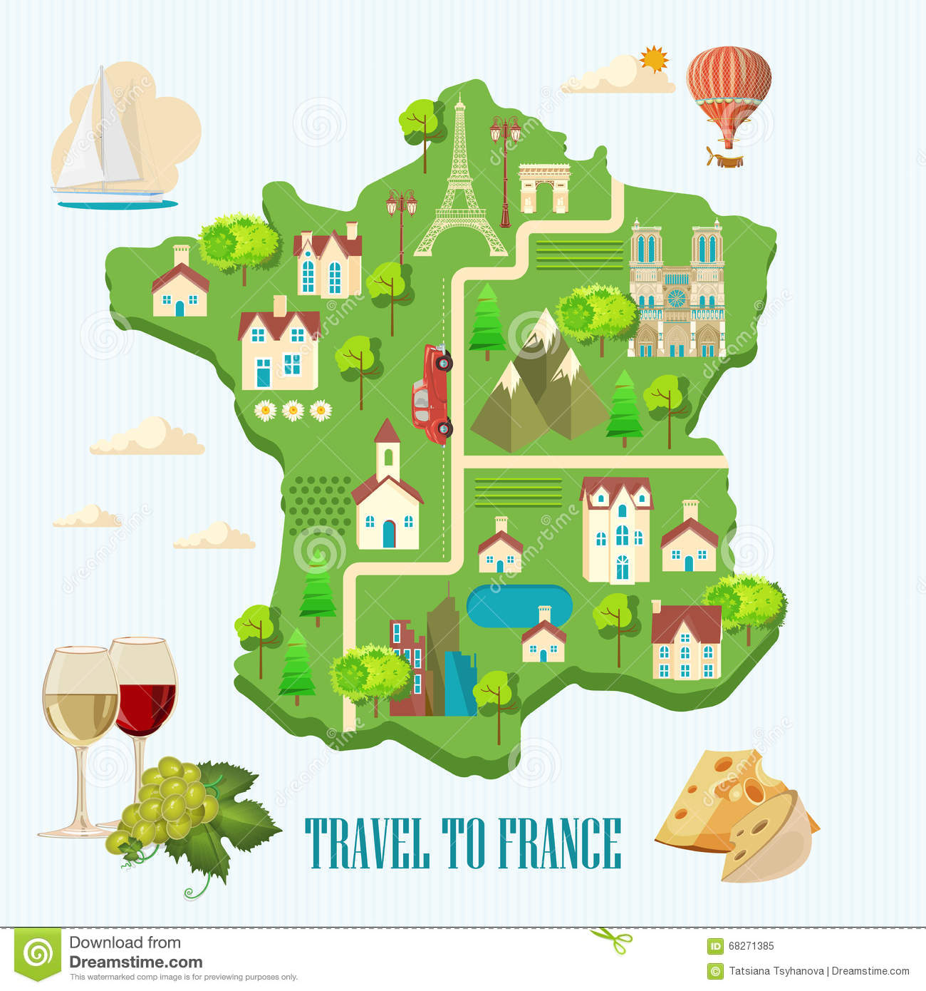 Map Of France For Tourists.Travel To France Sightseeing Of Paris And France Romantic Tourist
