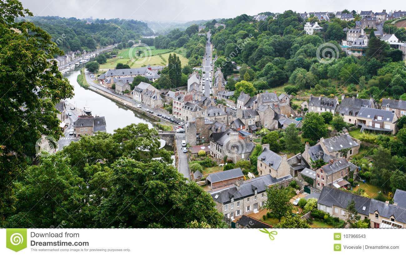 View Of Dinan City From Jardin Anglais In Rain Stock Image Image