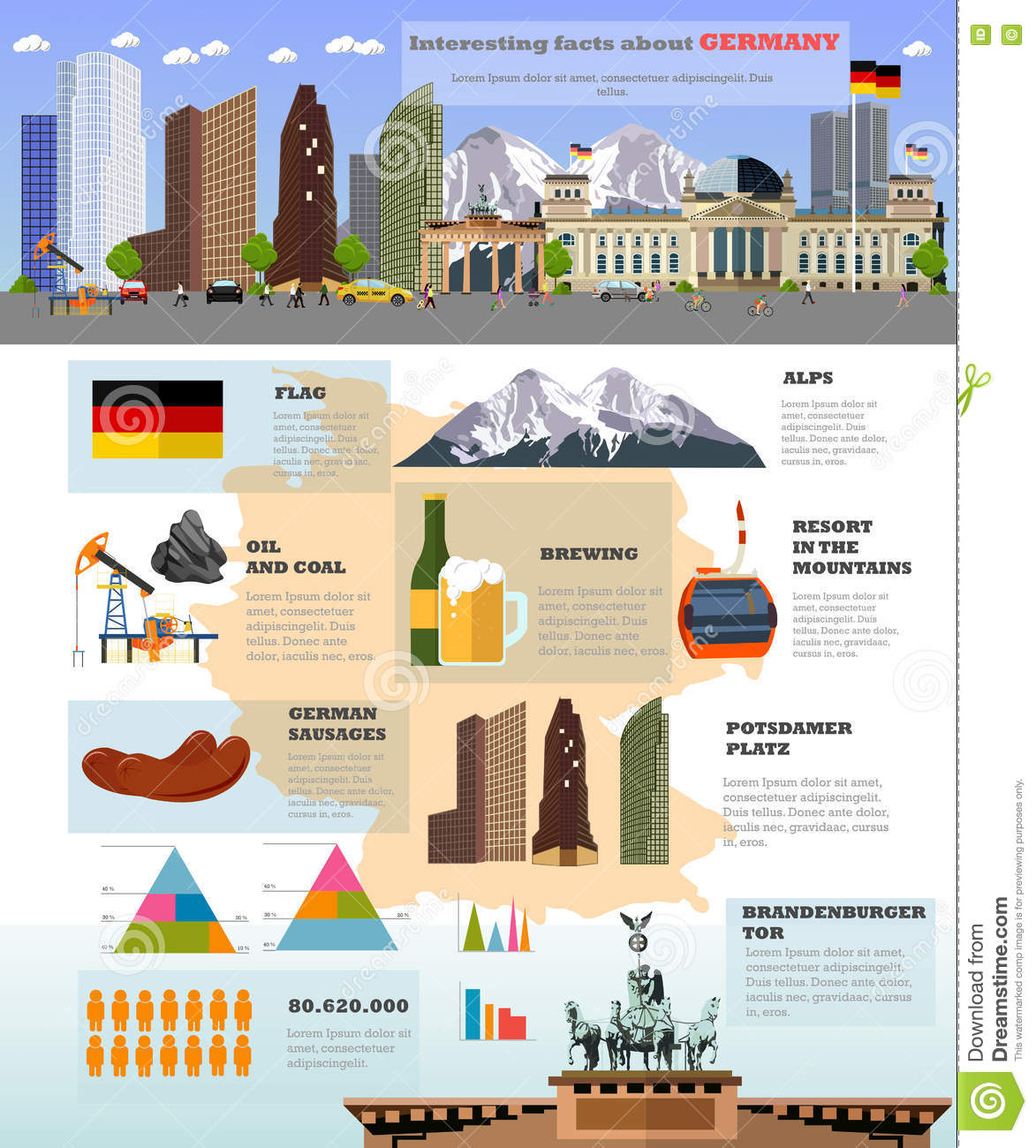 I Want To Visit Germany In German: Travel To Germany Concept Vector Illustration. German