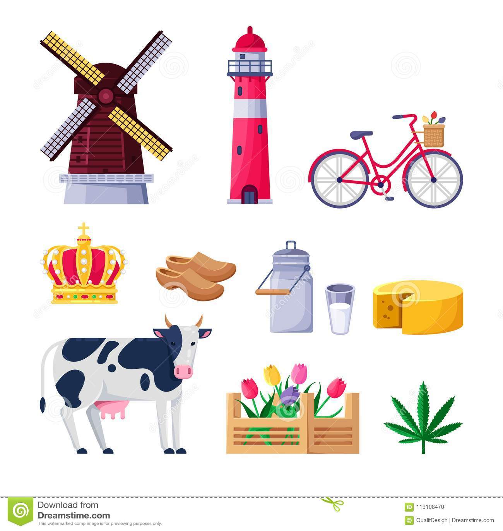 Dutch Culture Icons Flat Design Vector Illustration