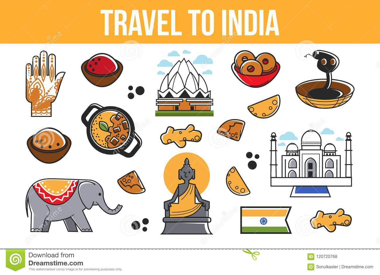 Travel To India Vector Indian Culture Symbols Stock Vector
