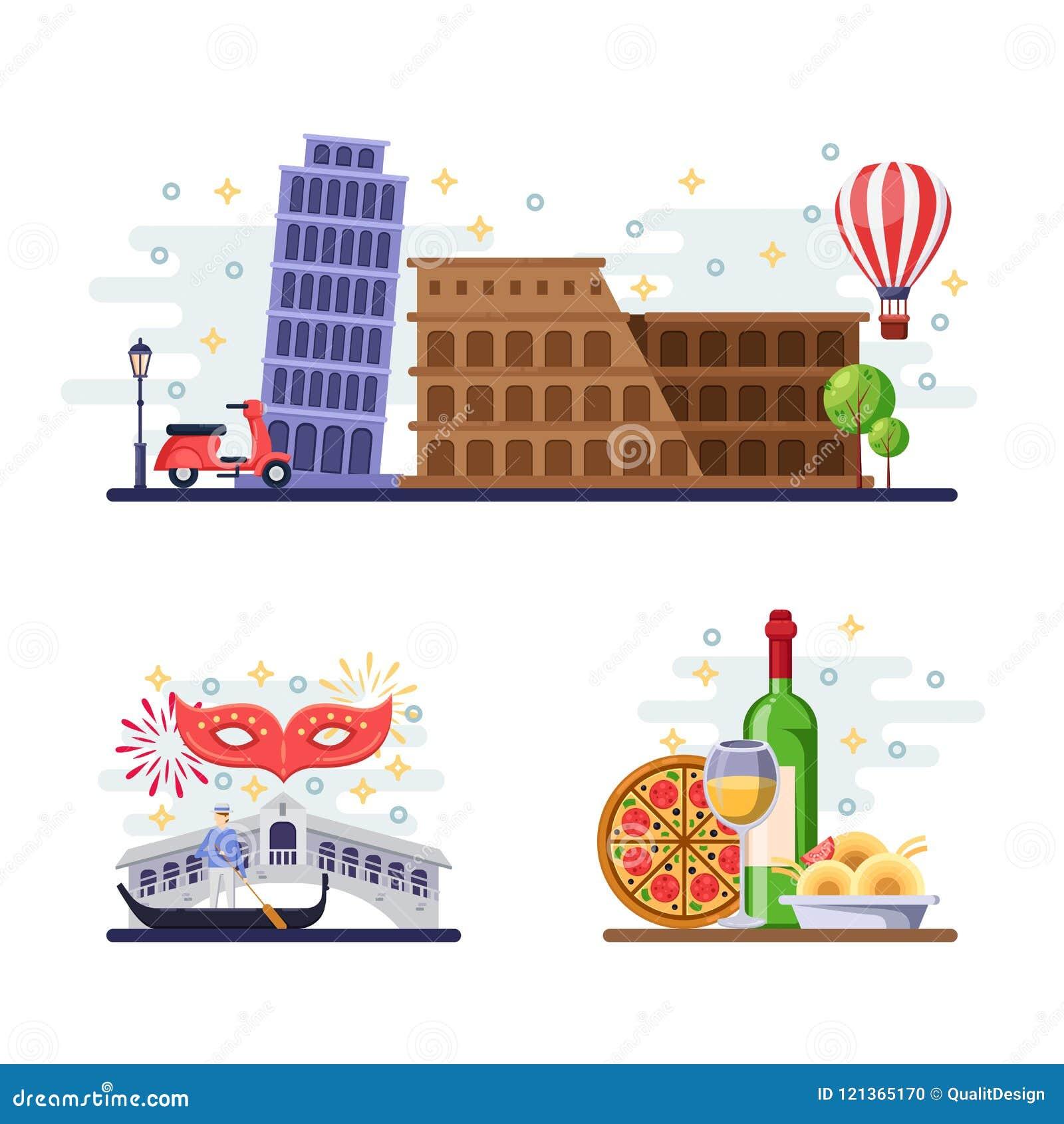 Travel To Italy Vector Flat Illustration Rome Pisa Venice City