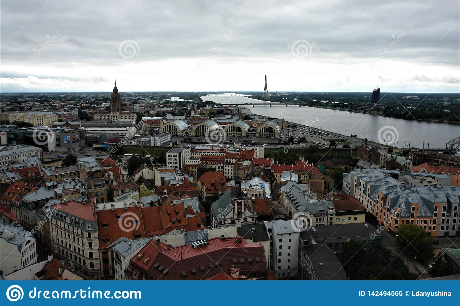 Latvia, Riga, view of the city from above.