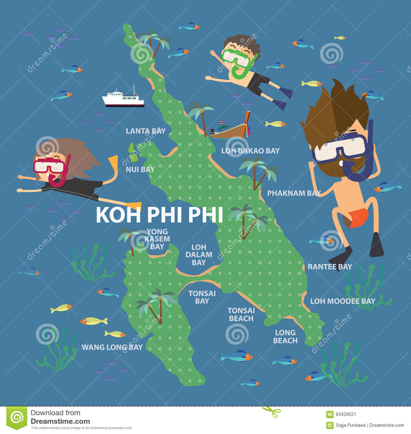 Long Beach Koh Phi Phi: Travel To Phi Phi Island Thailand Stock Vector