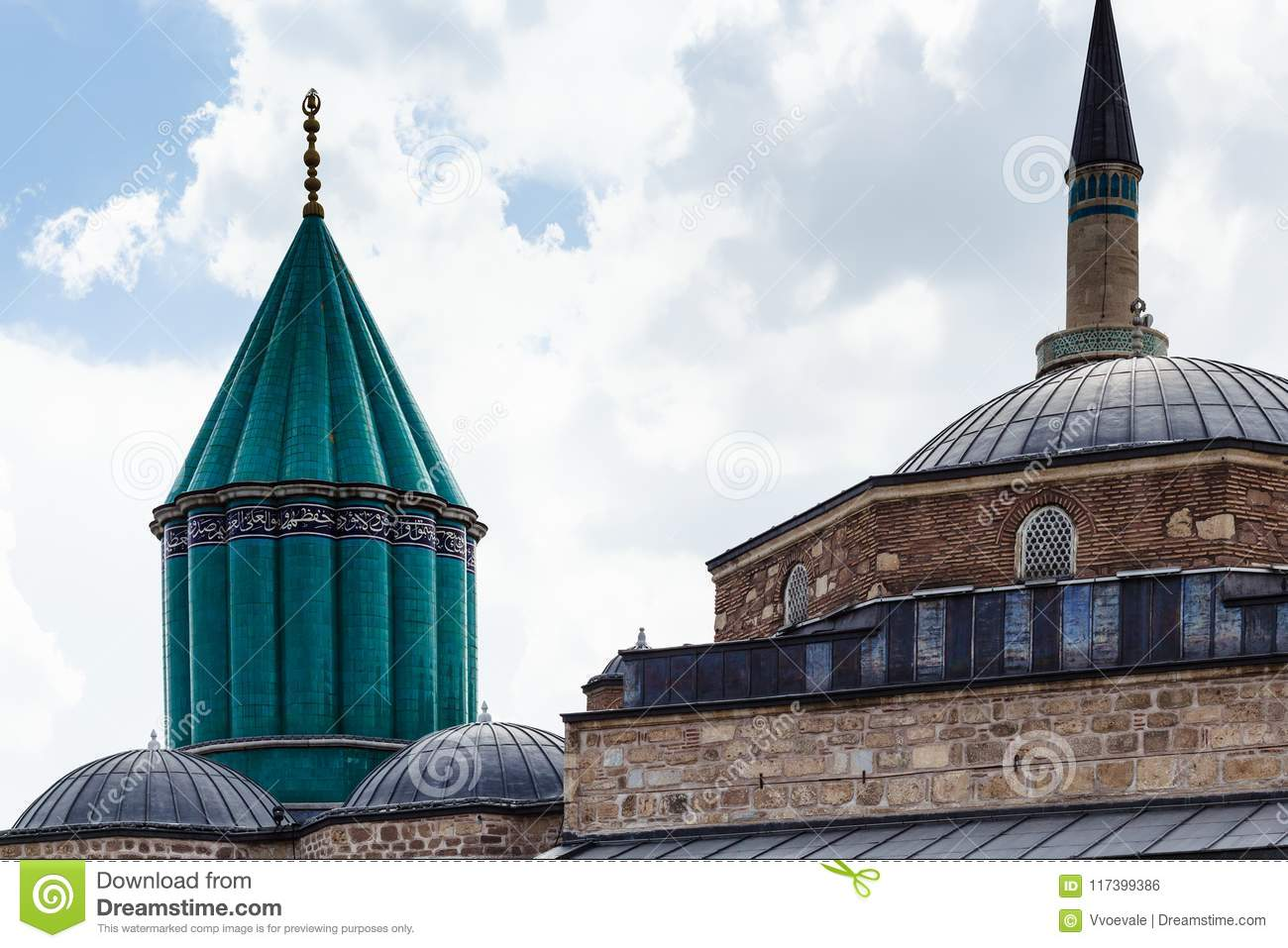 green dome and roof of Rumi Mausoleum in Konya