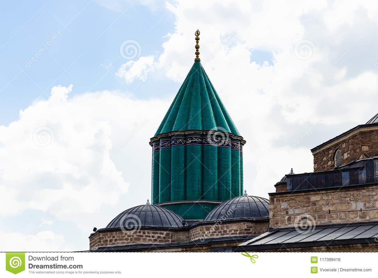 green dome and roof of Rumi Shrine in Konya city