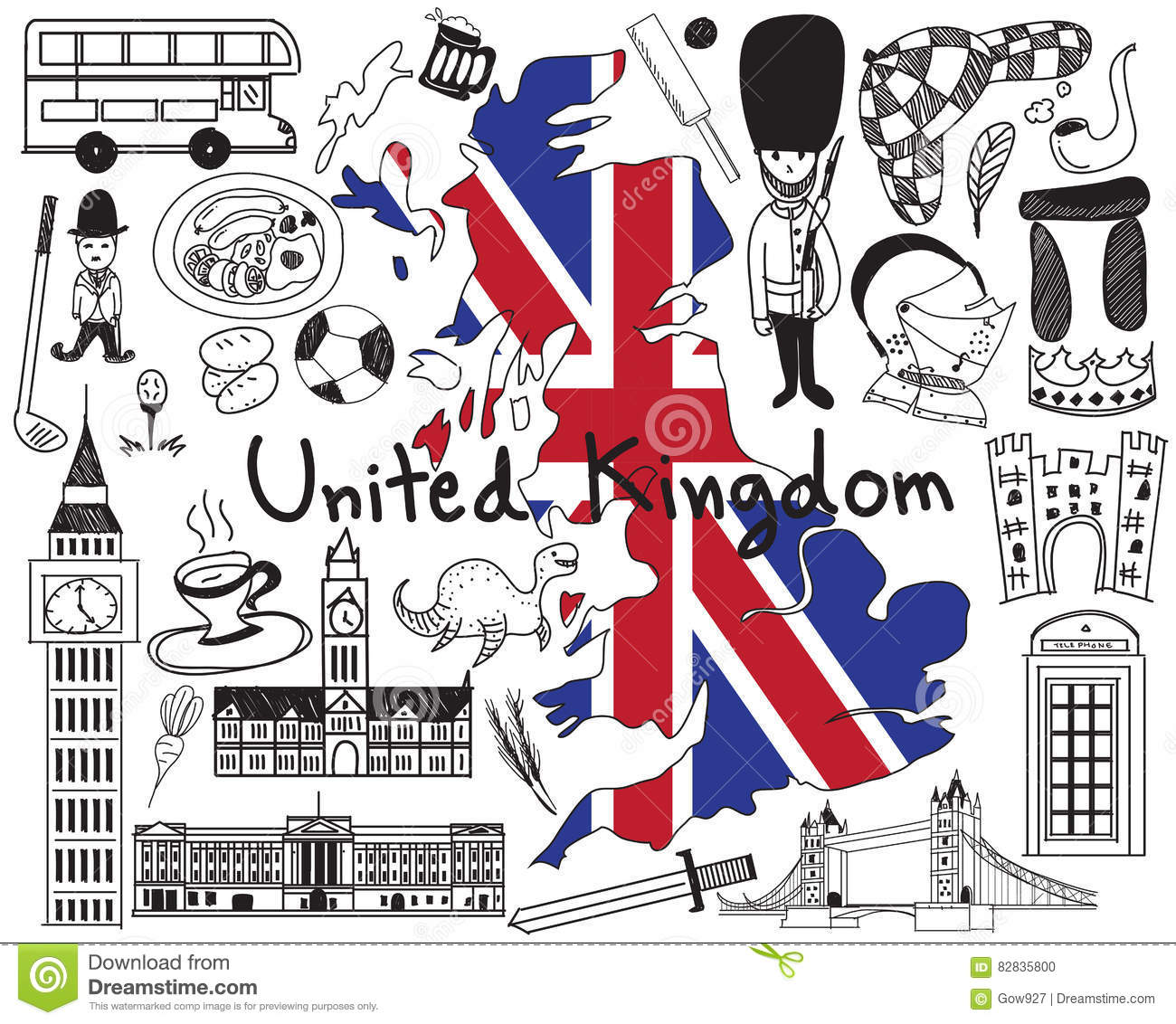 Travel United Kingdom England And Scotland Doodle Drawing Cartoon Vector Cartoondealer