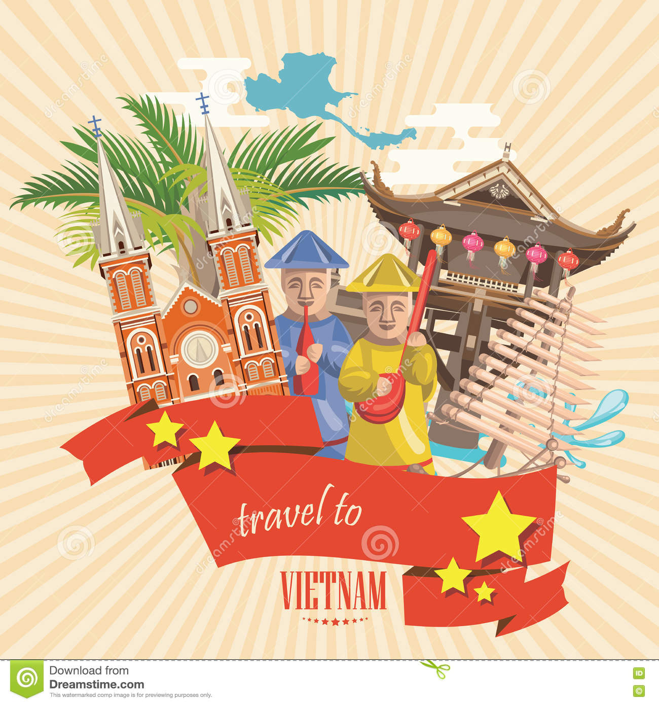 Travel to vietnam card with pagoda temple and yellow stars stock travel to vietnam card with pagoda temple and yellow stars m4hsunfo Choice Image