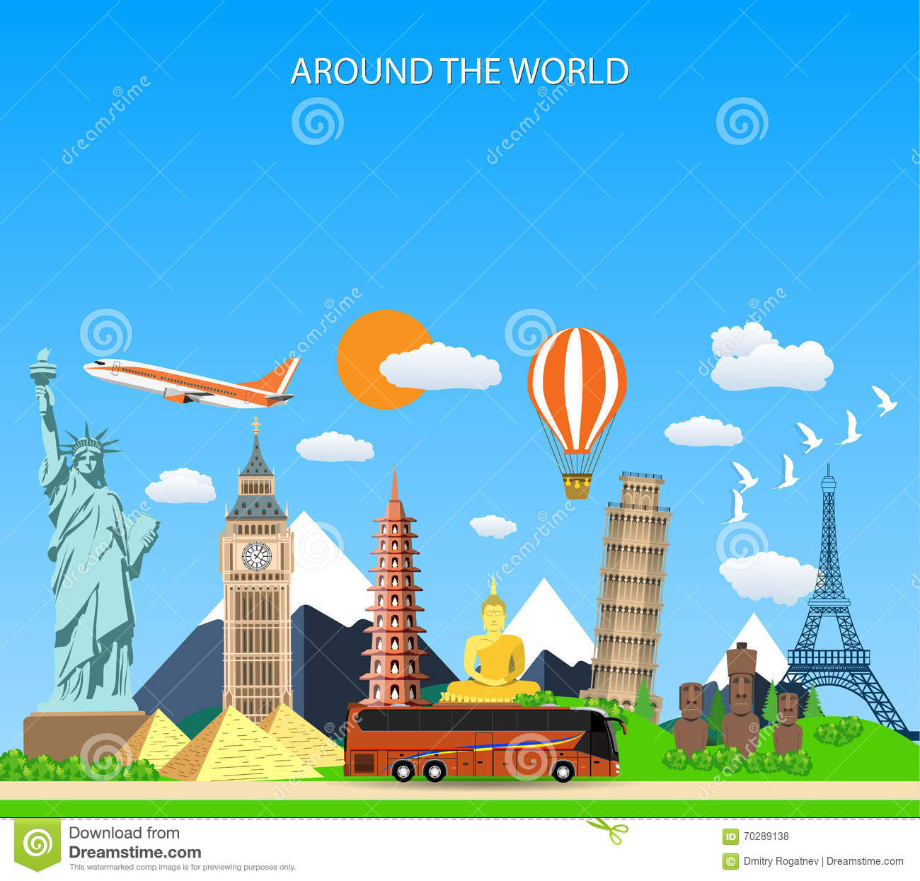 Best Vacation Spots In The Us For Retirees: Travel Composition With Famous Europe Landmarks. Vector