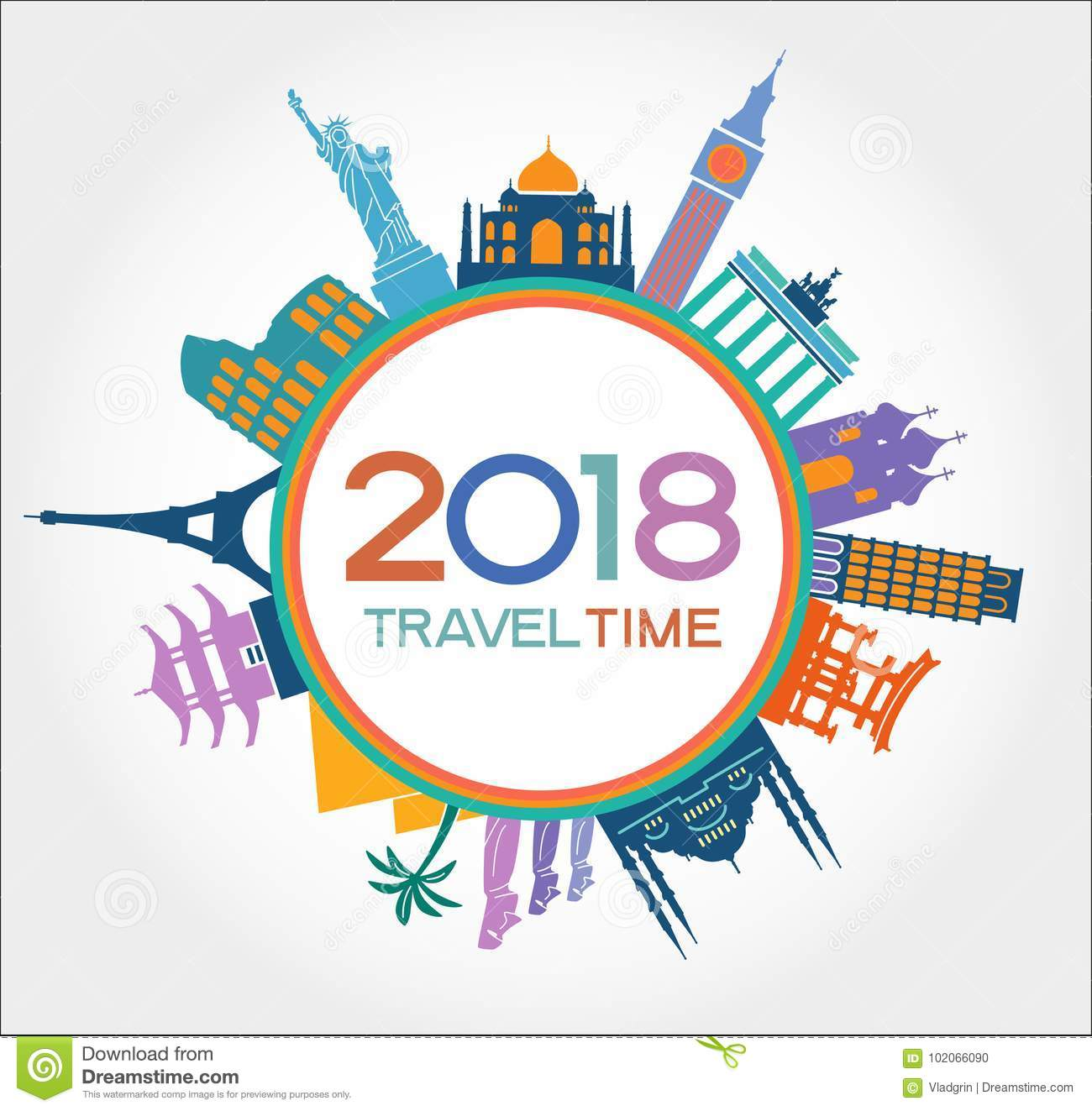 travel and happy new year 2018 design background with