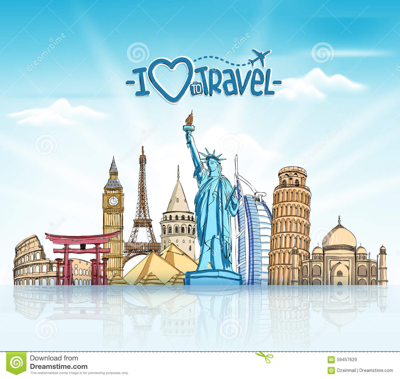 travel and tourism background with famous world landmarks stock