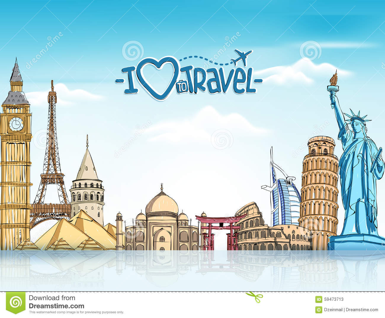 Background With Famous World Landmarks Stock Vector Image