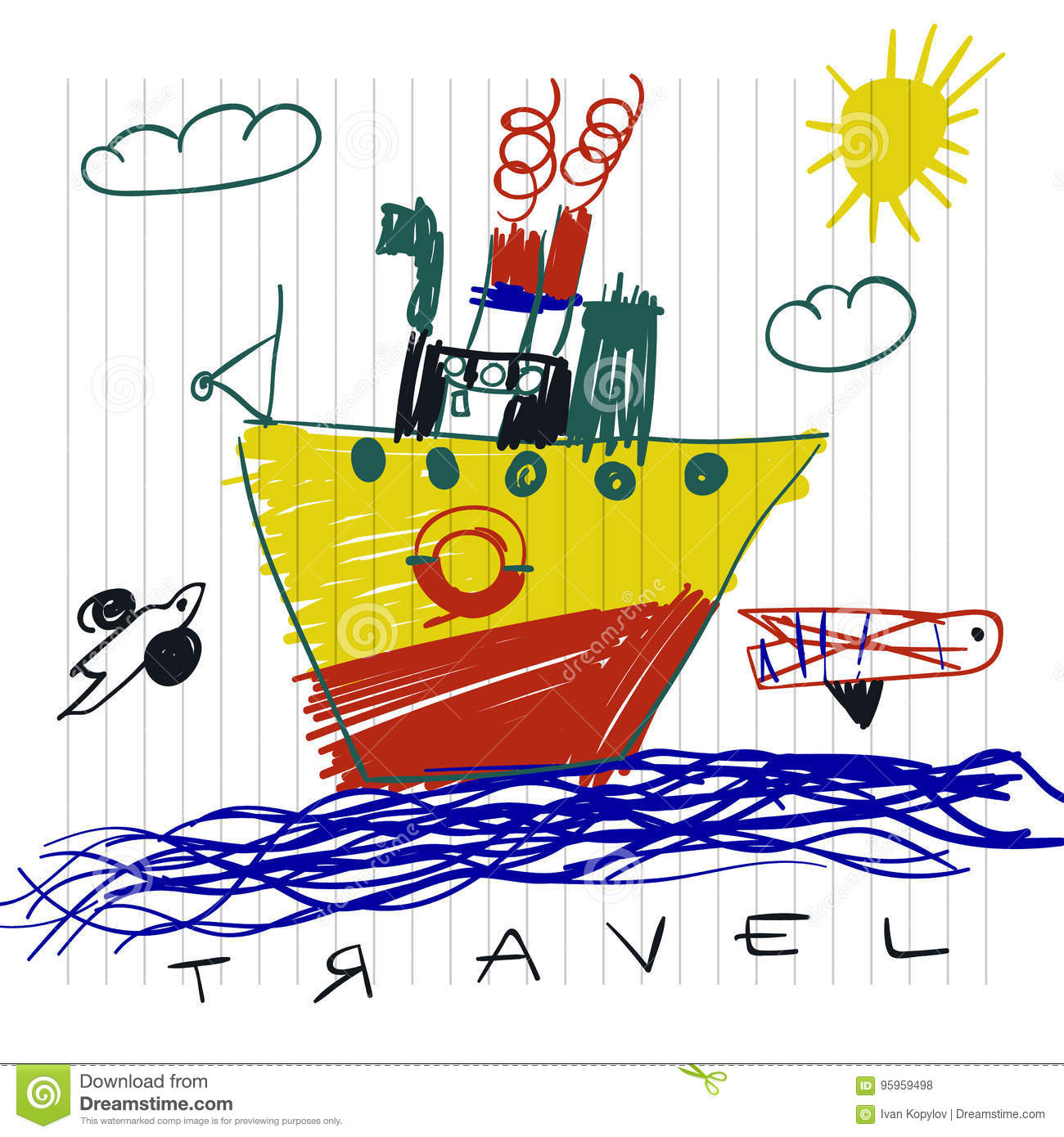 Travel And Tourism Concept. Cute Boat Children`s Drawings