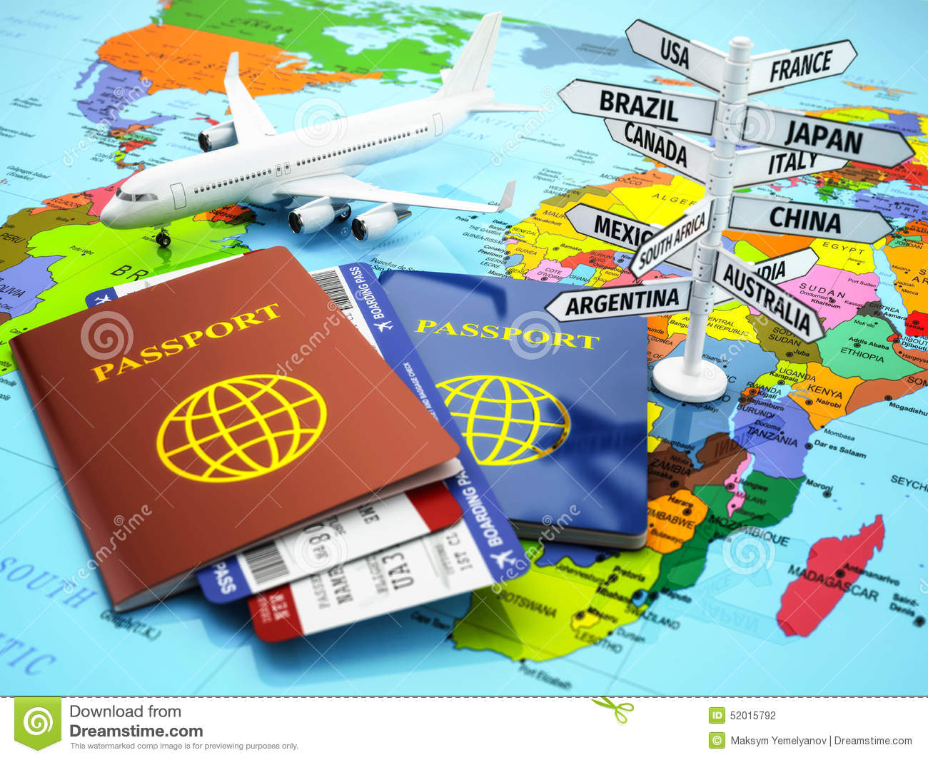 Travel Or Tourism Concept. Passport, Airplane, Airtickets ...