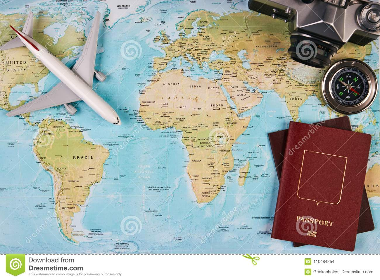 Travel and tourism concept stock photo image of traveller 110484254 travel and tourism concept with passport travel documents photo camera compass airplane on world map background with copy space top view gumiabroncs Choice Image
