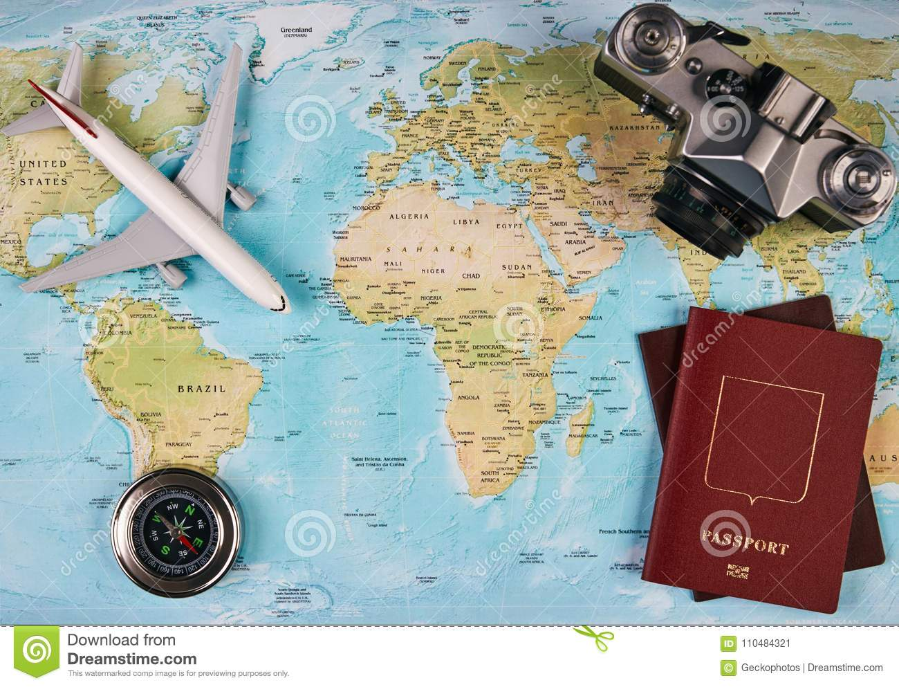 Travel and tourism concept stock image image of travel 110484321 travel and tourism concept with passport travel documents photo camera compass airplane on world map background with copy space top view gumiabroncs Choice Image
