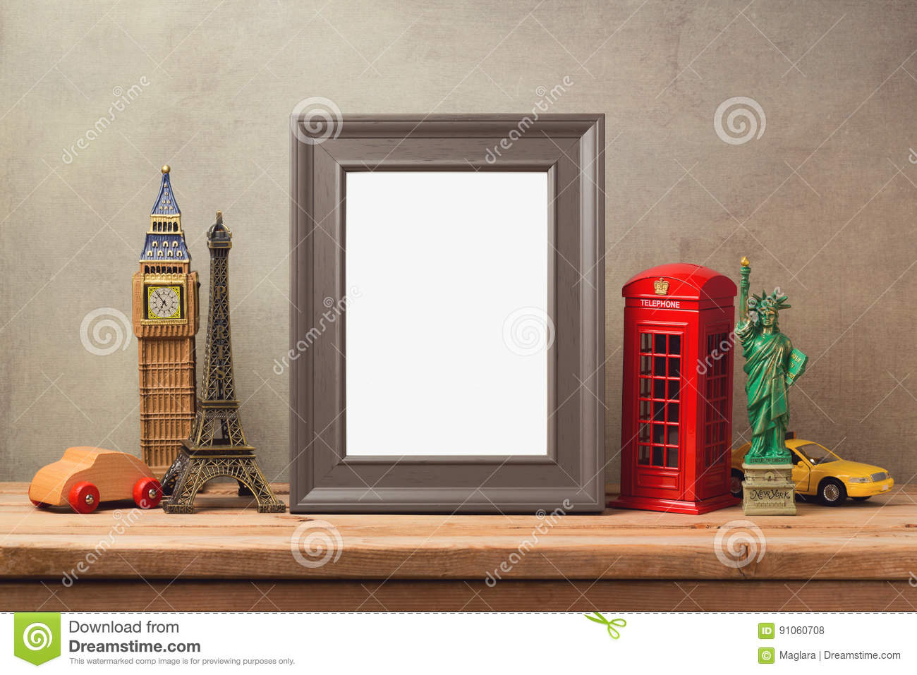 Travel And Tourism Concept With Photo Frame And Souvenirs From ...