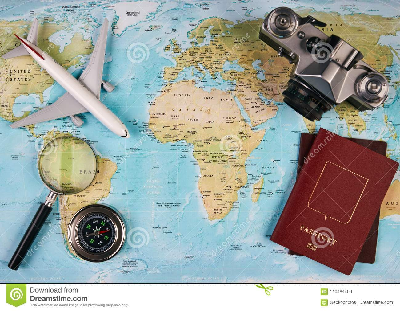 Travel and tourism concept stock photo image of above 110484400 travel and tourism concept with passport travel documents photo camera compass airplane on world map background with copy space top view gumiabroncs Choice Image
