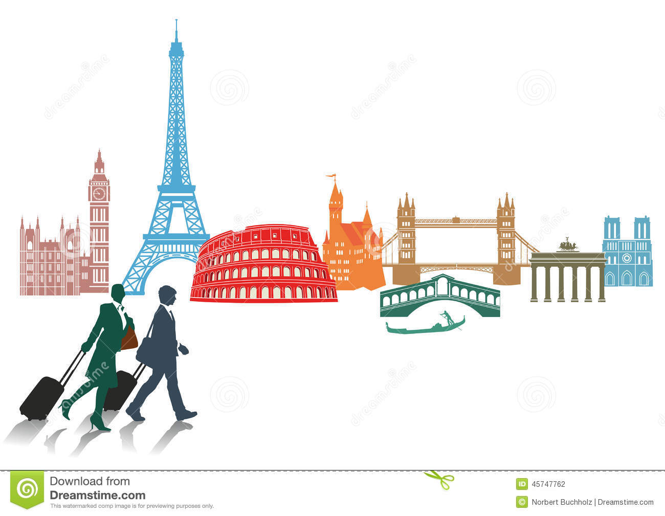 Travel And Tourism In Europe Stock Vector - Illustration ...