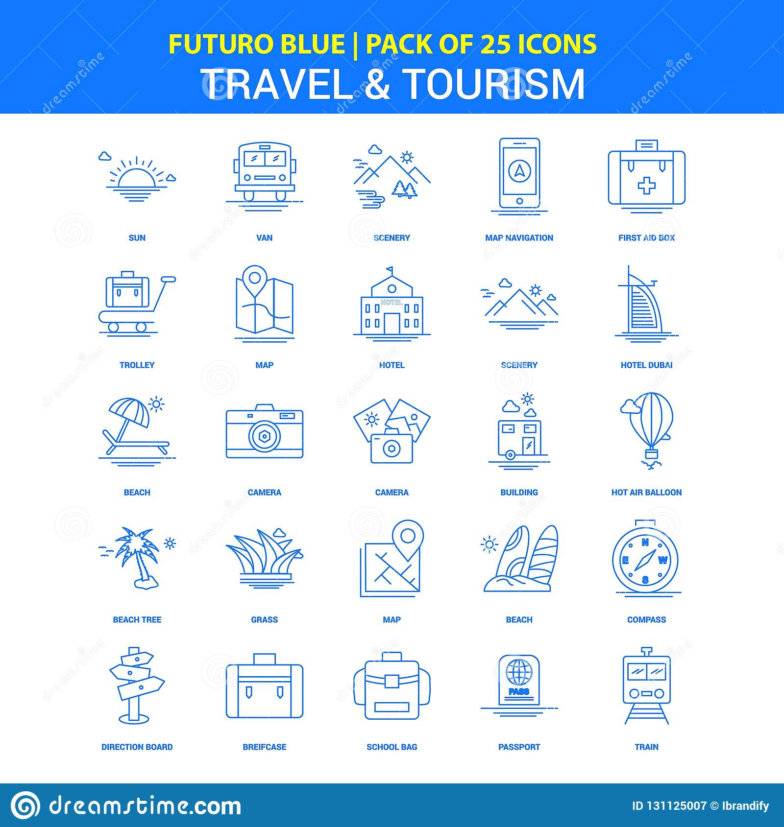 Travel and Tourism Icons - Futuro Blue 25 Icon pack