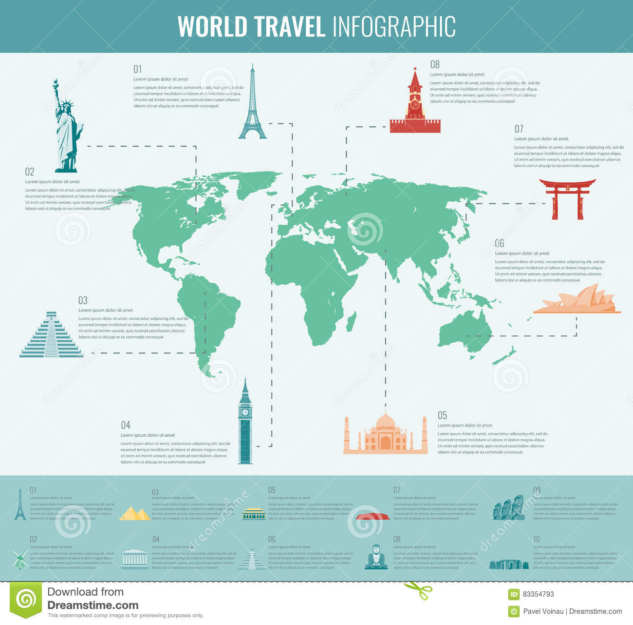 travel and tourism  infographic set with world map and