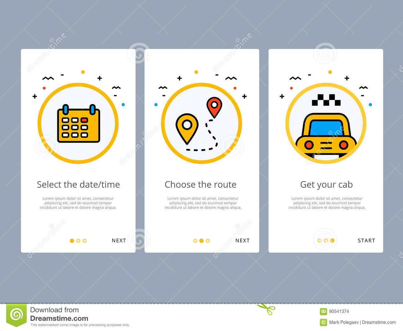 Travel and tourism onboarding screens design stock vector illustration 90541374 - Order a cab ...