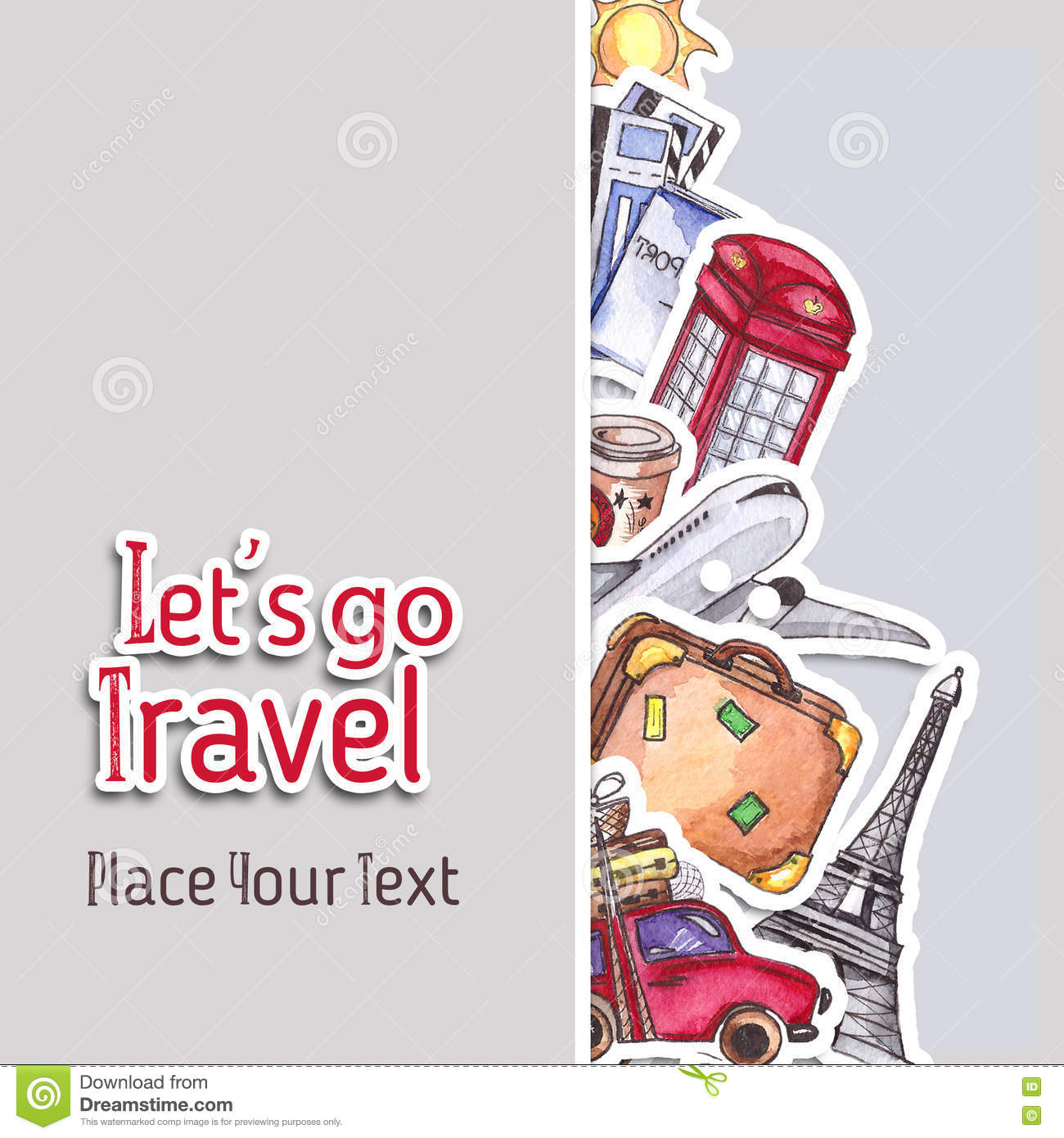 travel and tourism template london red telephone box statue of