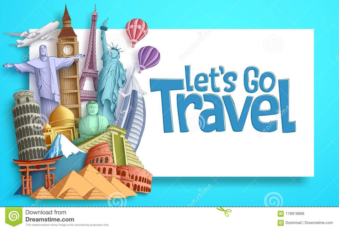 Travel and tourism vector banner template with Let`s Go Travel text in a white empty space and famous landmarks