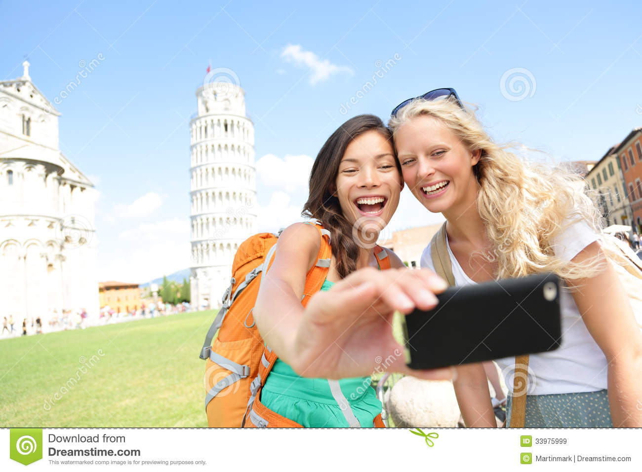 Travel Tourists Friends Taking Photo In Pisa Stock Image ...
