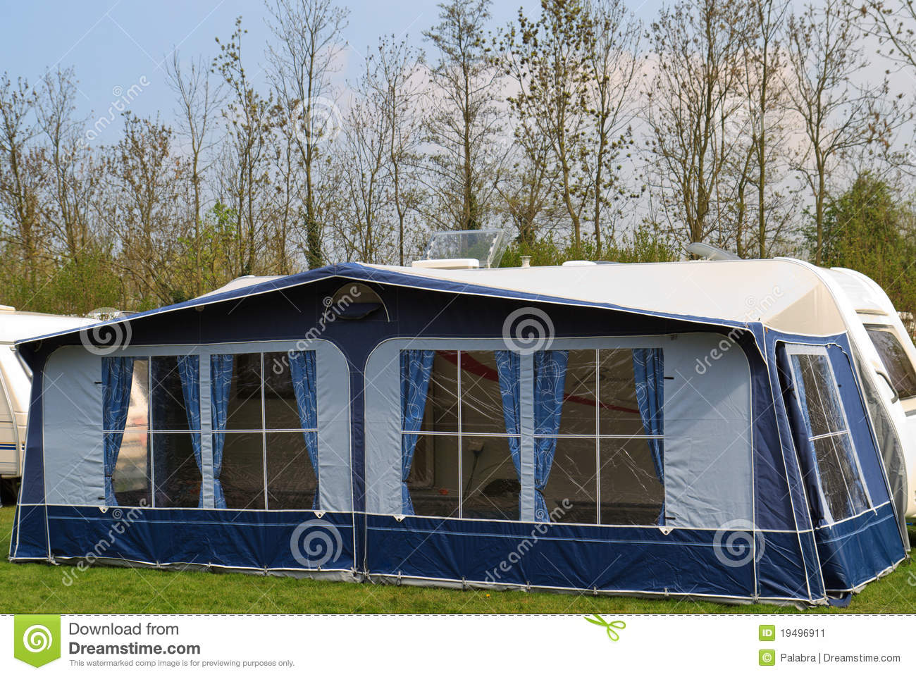 Travel Trailer With Awning Tent 1 Stock Image Image Of