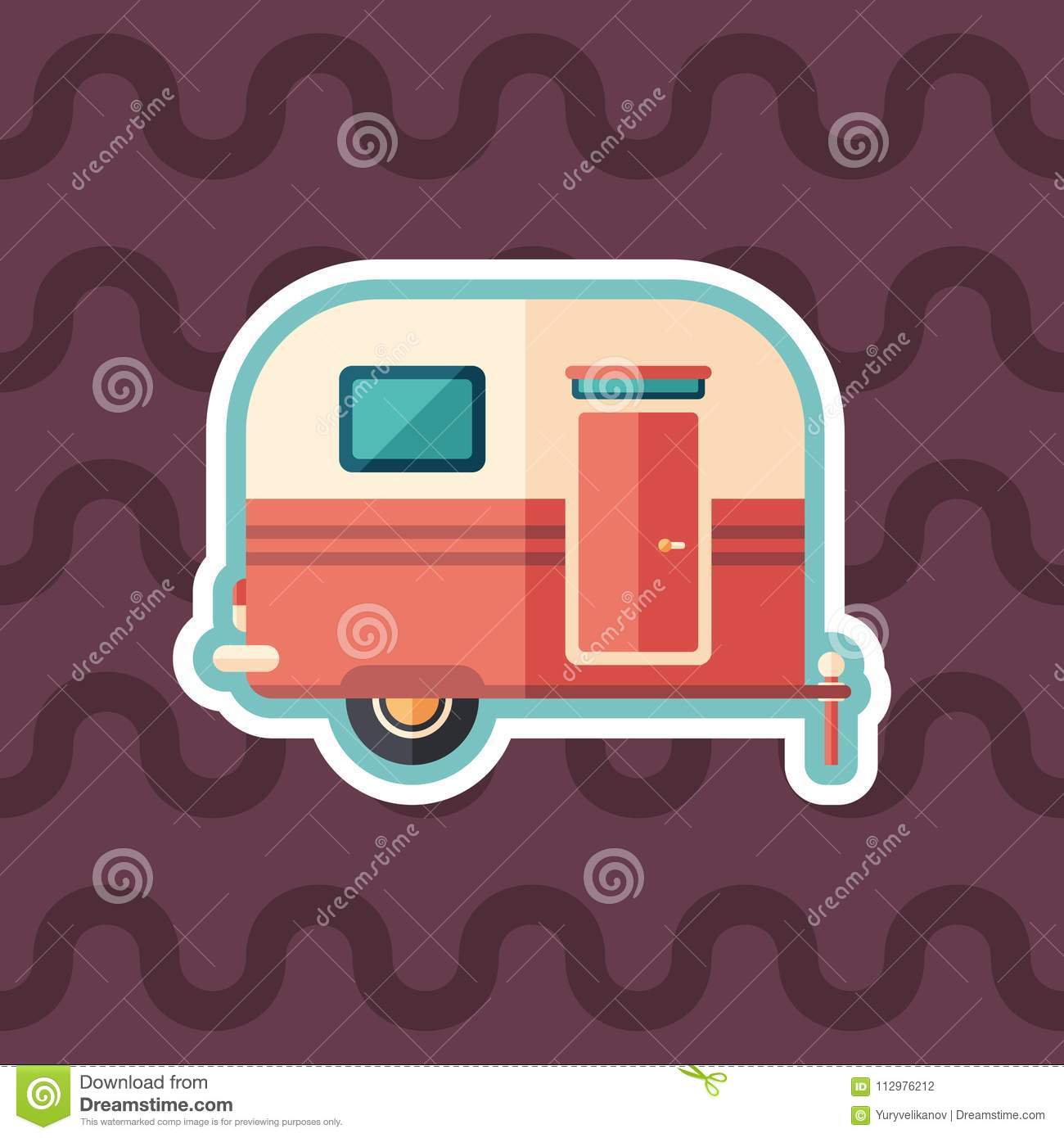Travel trailer sticker flat icon with color background.
