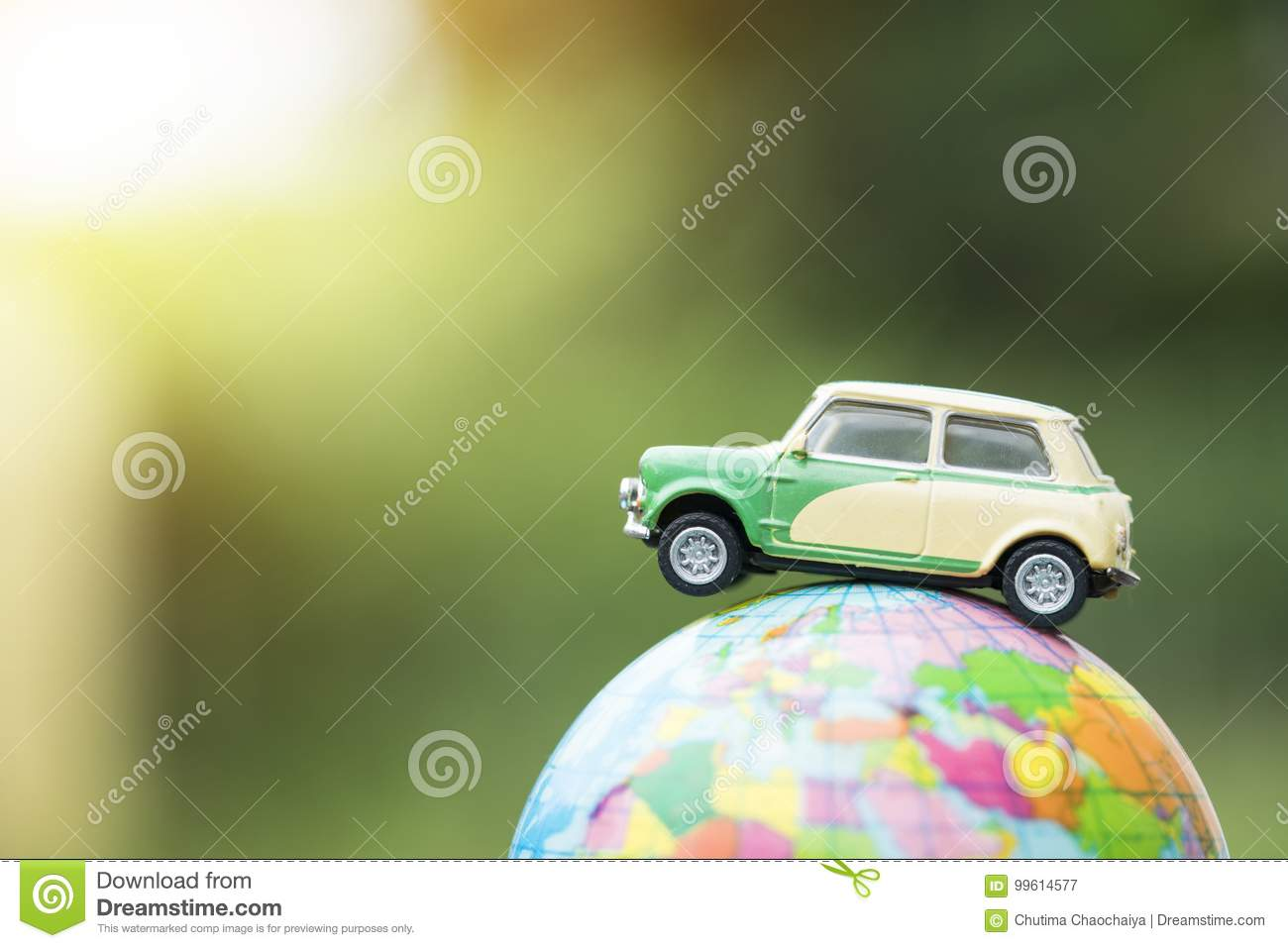 Travel and transport concept. Toy car on world map balloon