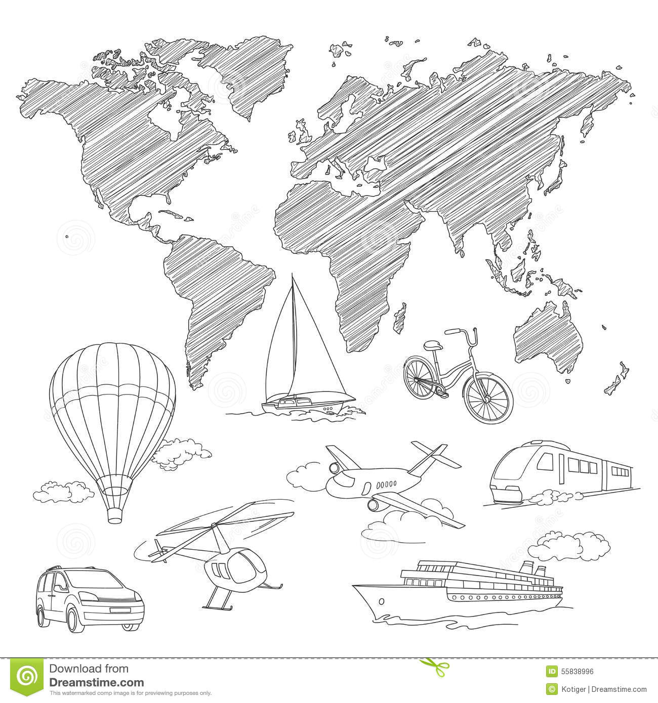 Line Art World Map : Travel the world design background of line drawing vector