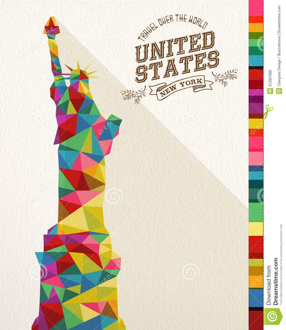 Traveling To The United States: Travel USA Landmark Polygonal Monument Stock Vector