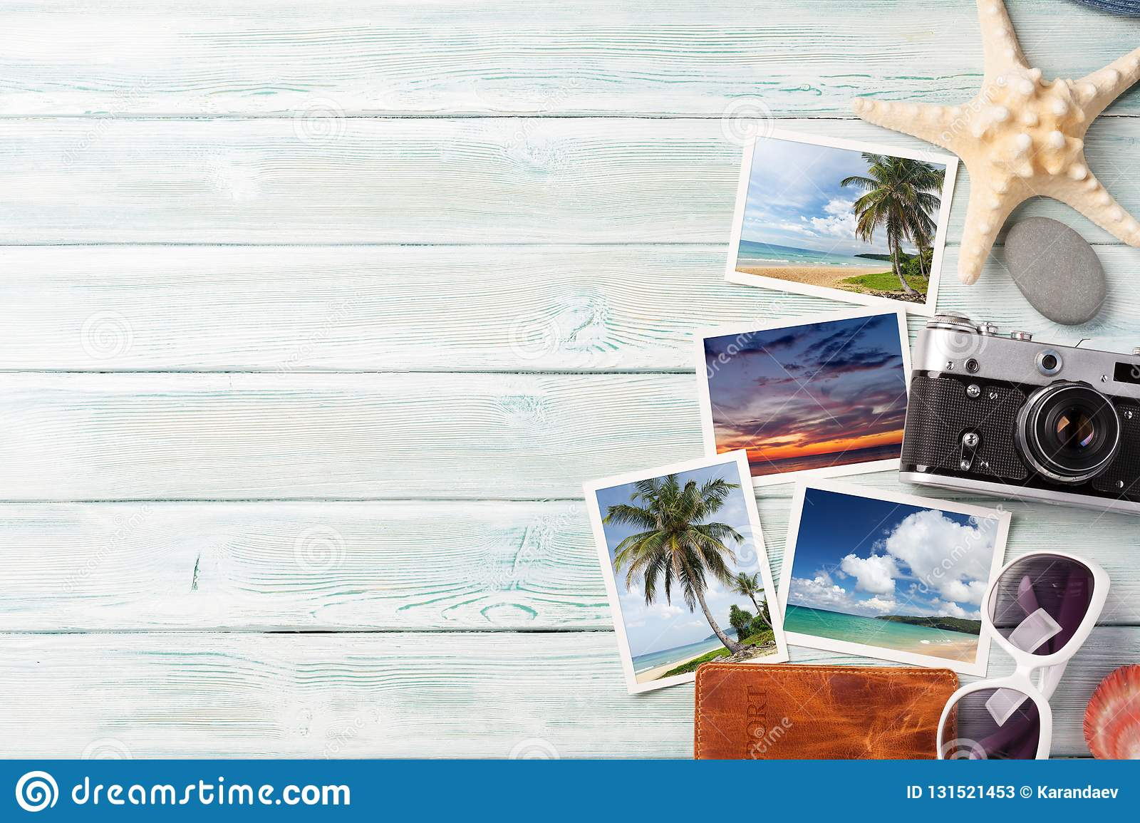 Travel vacation background concept with weekend photos on wooden backdrop. Top view with copy space. Flat lay. All photos taken by
