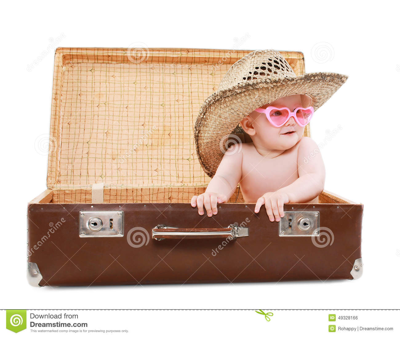 Travel Vacation And People Concept Funny Baby In