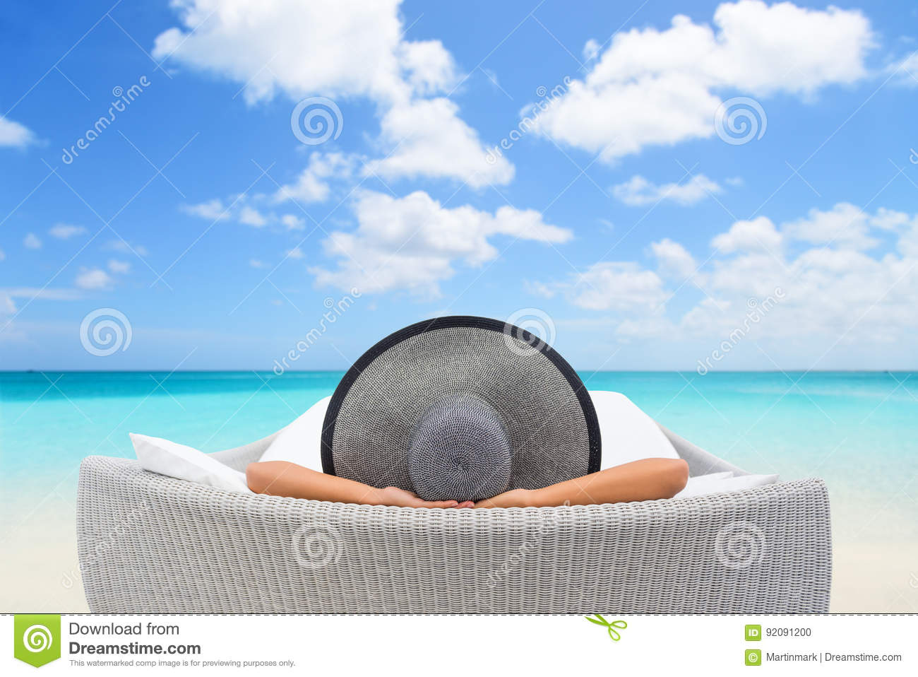Travel vacation woman relaxing lying down