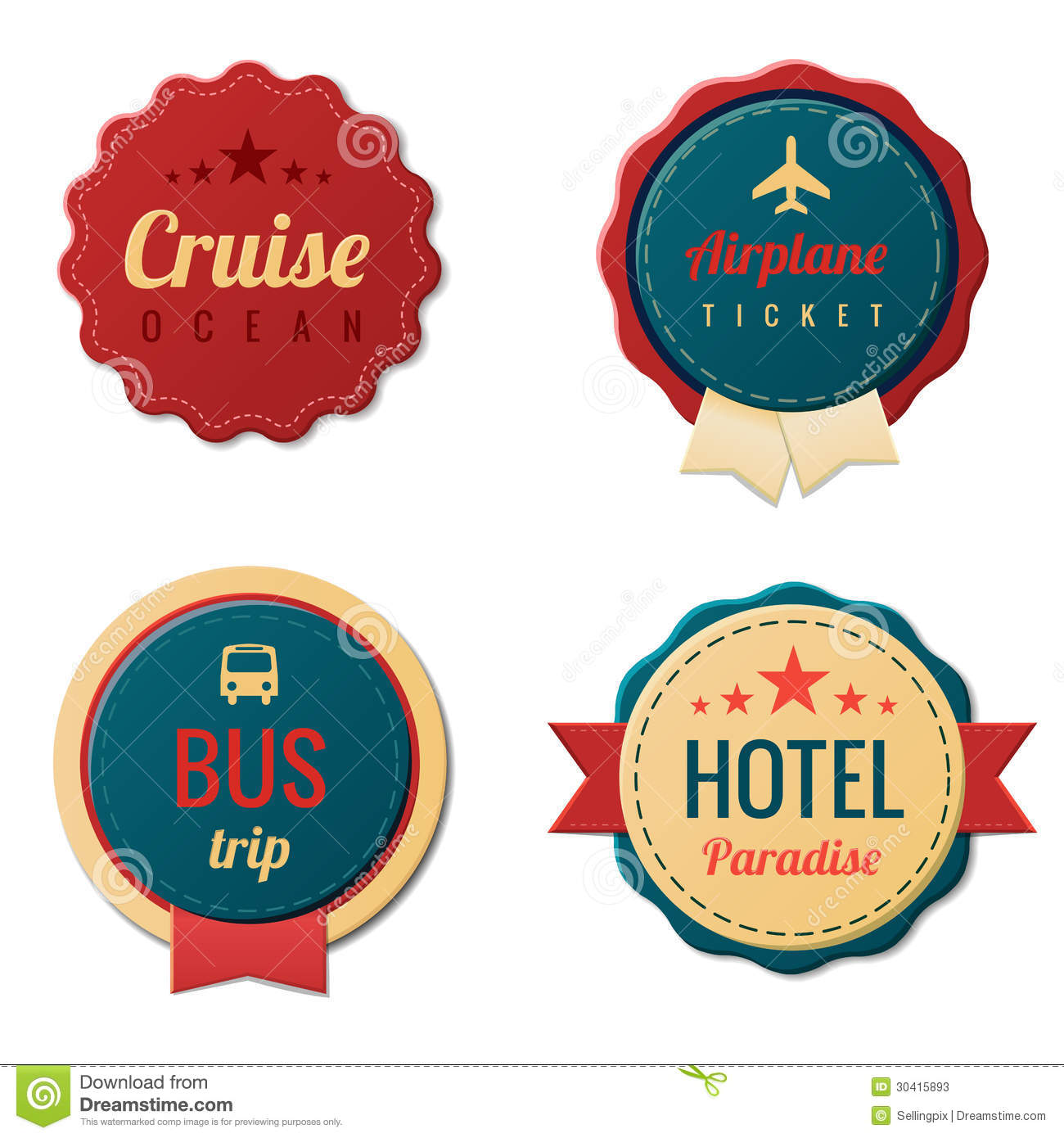 Travel Vintage Labels Template Collection Tourism Stock Vector