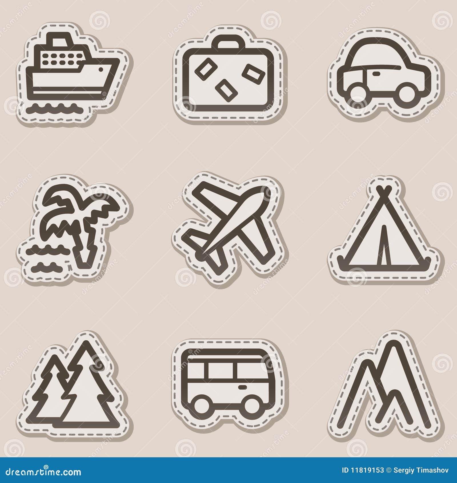 Travel web icons set 1, brown contour sticker