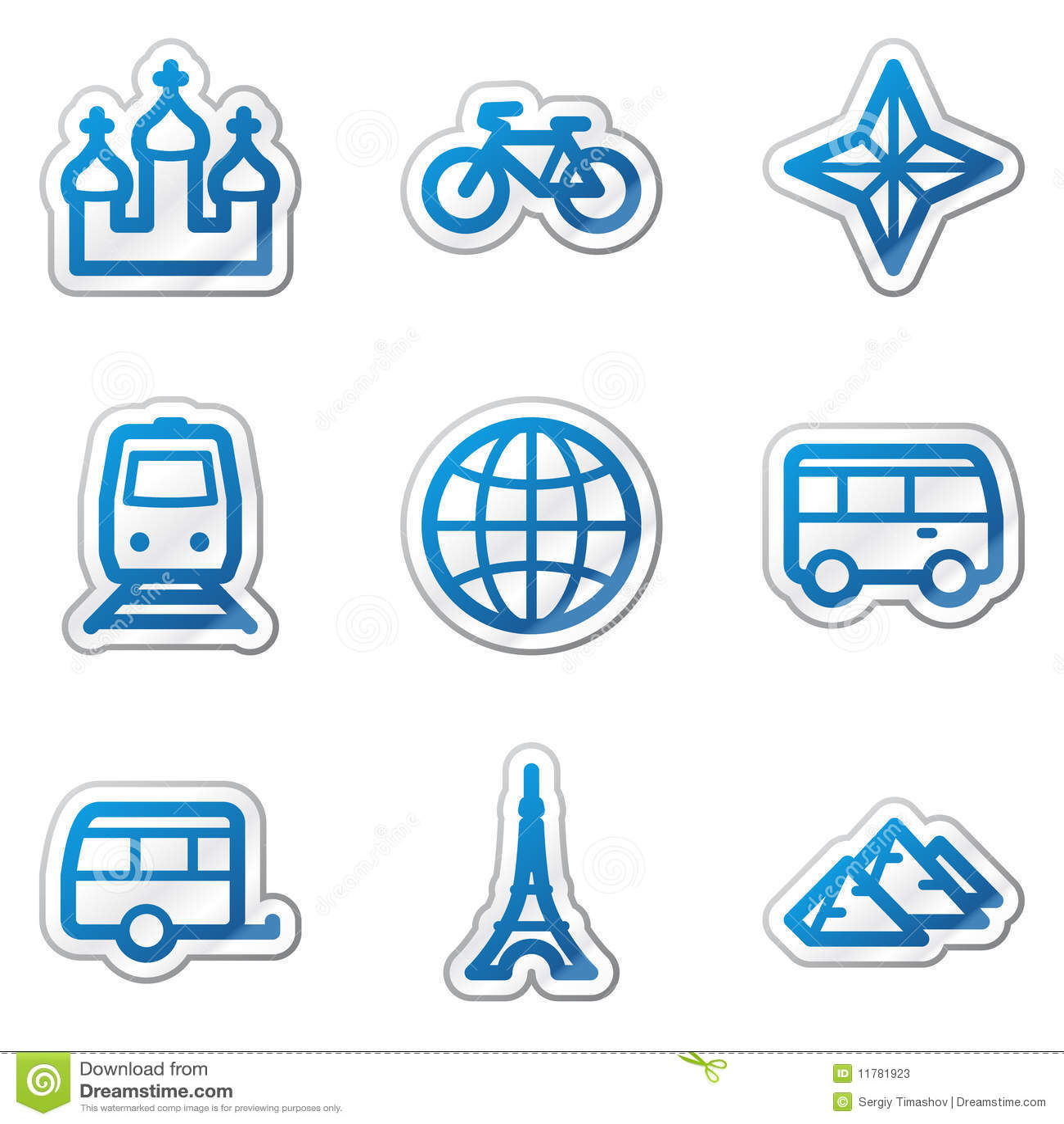 Travel web icons set 2, blue contour sticker