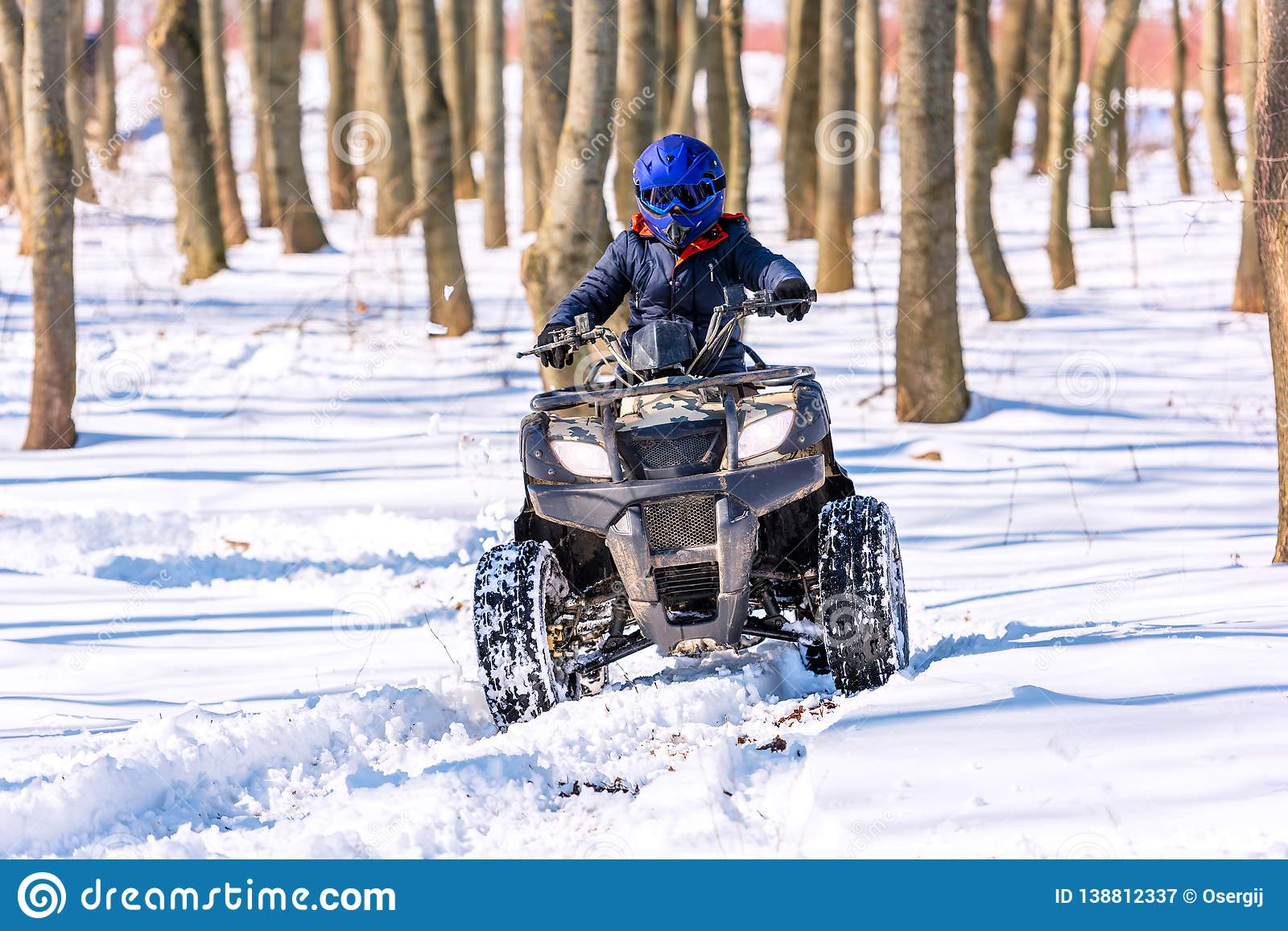 Travel in the winter on the ATV. Beautiful winter nature
