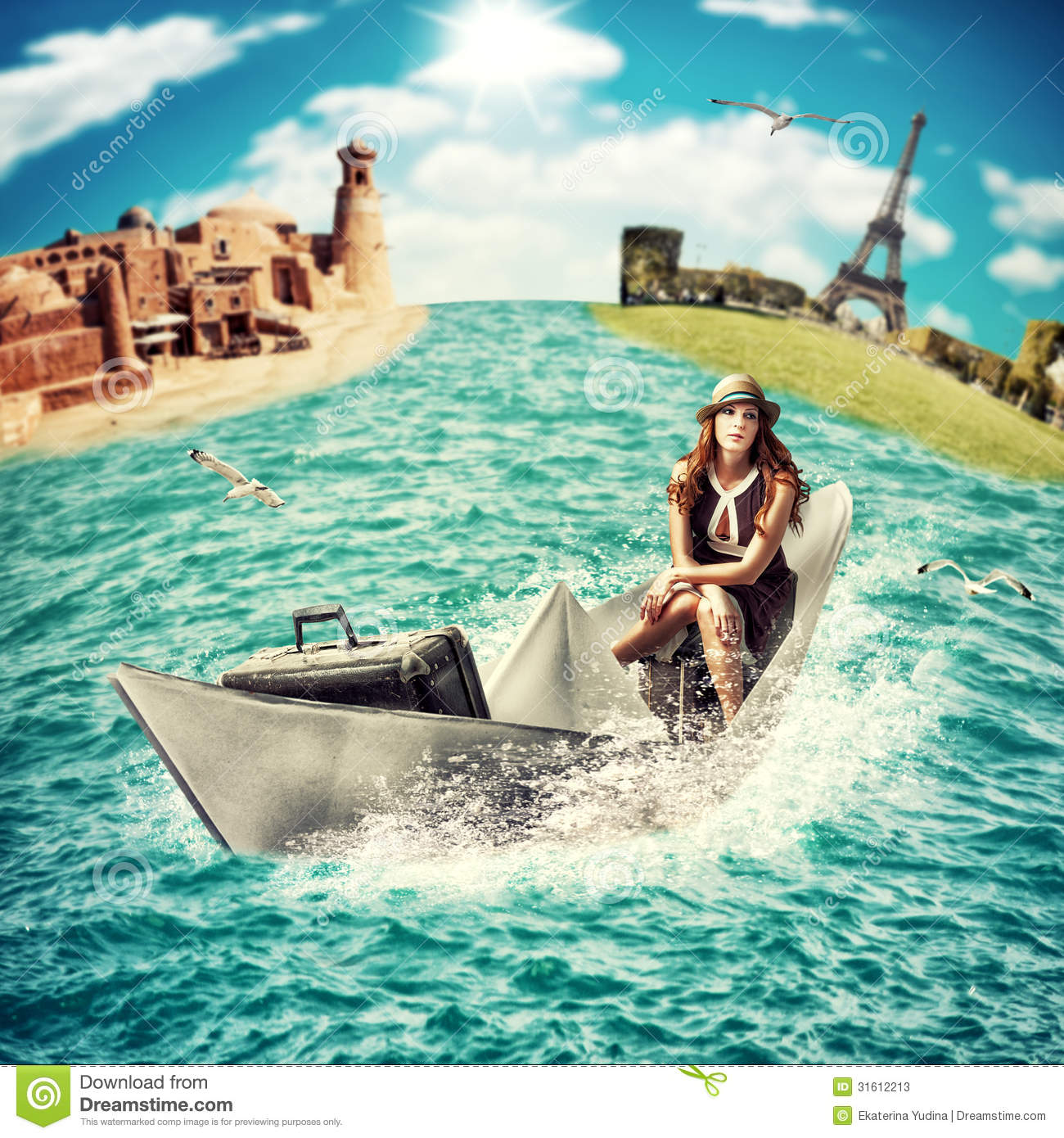 Travel. Woman with luggage on boat