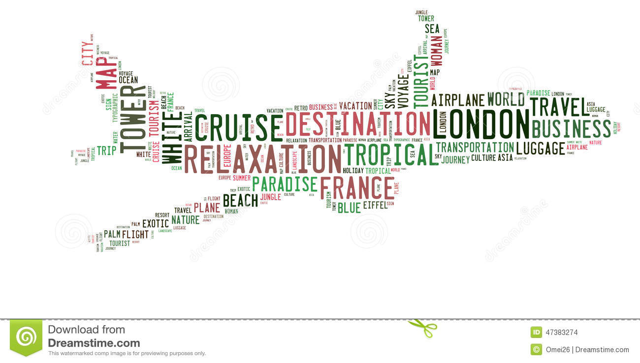 Travel Word Cloud In Aircraft Shape Stock Illustration